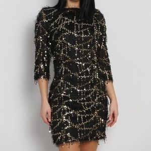 Dresses & Skirts - 3/4 Sleeve Black & Silver Fringed Sequin dress
